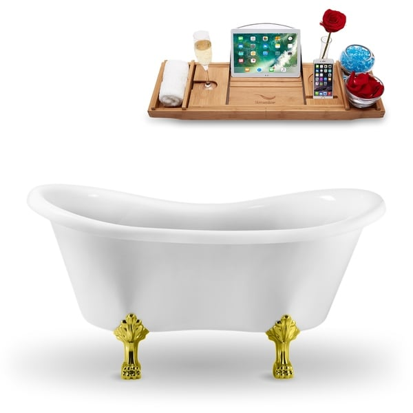 """62"""" Streamline N1020GLD Clawfoot Tub and Tray With External Drain"""