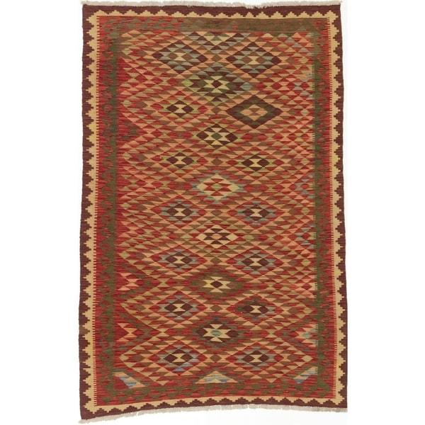 ECARPETGALLERY Flat-weave Kashkoli FW Dark Red, Light Gold Wool Kilim - 4'10 x 7'5