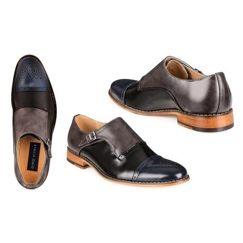 Gino Vitale Men's Three Tone Monk Strap Dress Shoes