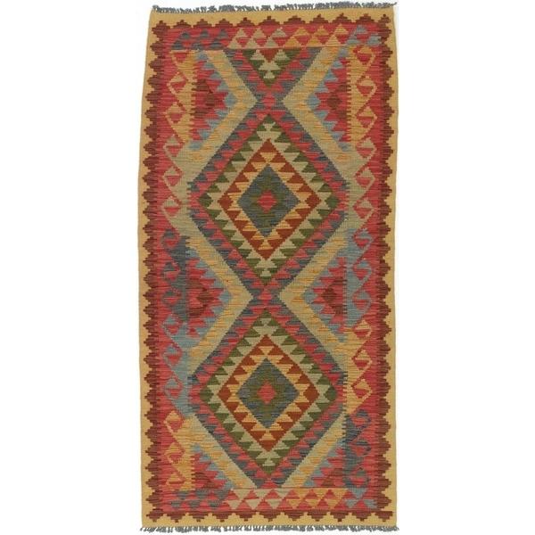 ECARPETGALLERY Flat-weave Anatolian FW Dark Burgundy, Dark Grey Wool Kilim - 3'3 x 6'7