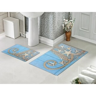 Decorotika 2 Piece Bathroom and Shower Mat - Non-Slip Backing - Star - 24 x 36