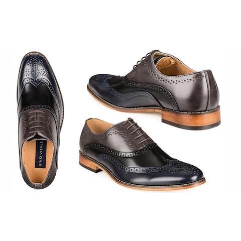 Gino Vitale Men's Three Tone Lace-up Dress Shoes