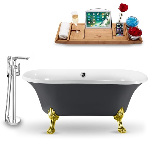 """Tub, Faucet and Tray Set Streamline 60"""" Clawfoot NH860GLD-CH-120"""