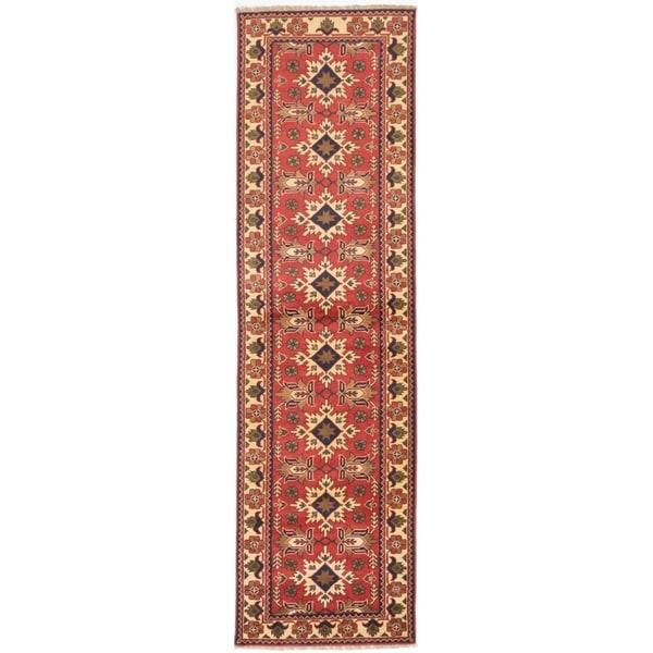 ECARPETGALLERY Hand-knotted Finest Kargahi Dark Burgundy Wool Rug - 2'9 x 9'9