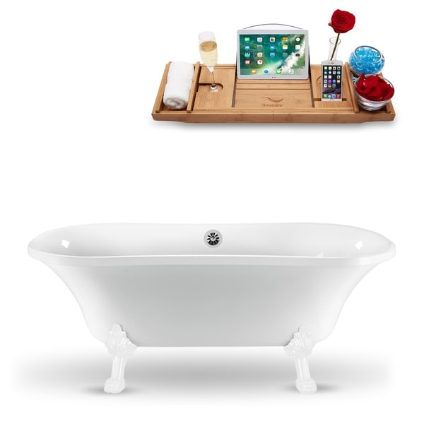 """68"""" Streamline N861WH-CH Clawfoot Tub and Tray With External Drain"""