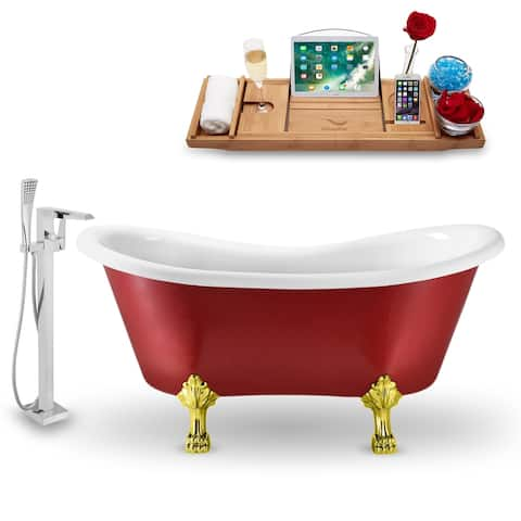 """Tub, Faucet and Tray Set Streamline 62"""" Clawfoot NH1021GLD-100"""
