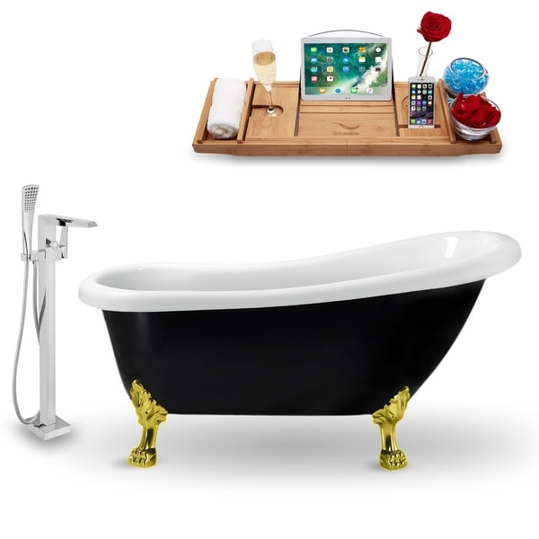 """Tub, Faucet and Tray Set Streamline 61"""" Clawfoot NH481GLD-100"""