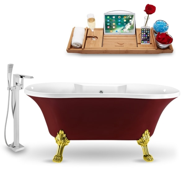 """Tub, Faucet and Tray Set Streamline 60"""" Clawfoot NH102GLD-CH-100"""