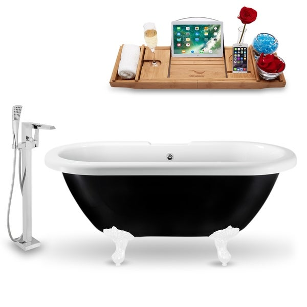 "Tub, Faucet and Tray Set Streamline 59"" Clawfoot NH1120WH-CH-100"