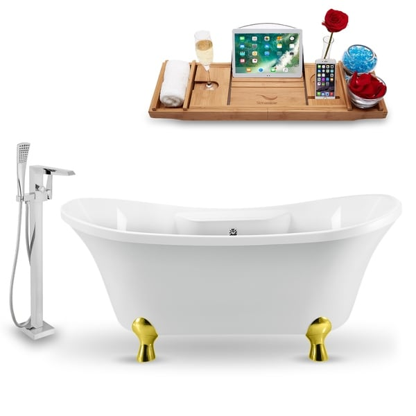 """Tub, Faucet and Tray Set Streamline 60"""" Clawfoot NH920GLD-CH-100"""