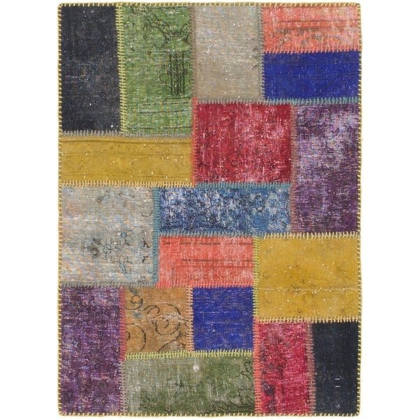 Hand Knotted Ultra Vintage Wool Area Rug - Multi - 3' x 4'