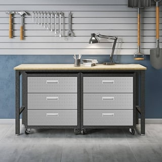 Link to 3-Piece Fortress Mobile Space-Saving Steel Garage Cabinet Chests and Worktable 6.0 in Grey Similar Items in Storage & Organization