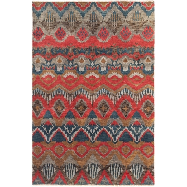 ECARPETGALLERY Hand-knotted Ikat Royale Red Wool Rug - 6'0 x 9'0