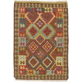 ECARPETGALLERY  Flat-weave Hereke FW Dark Brown, Dark Red Wool Kilim - 3'5 x 4'8