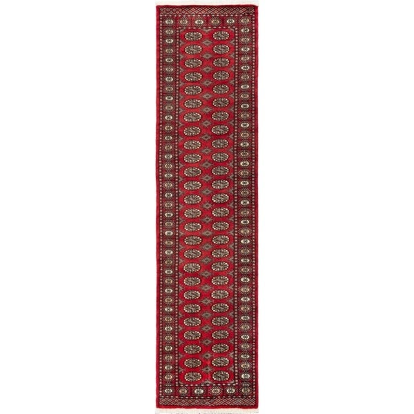ECARPETGALLERY Hand-knotted Finest Peshawar Bokhara Red Wool Rug - 2'6 x 10'0