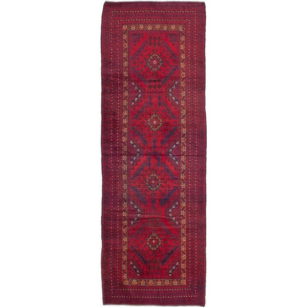 ECARPETGALLERY Hand-knotted Royal Baluch Red Wool Rug - 3'11 x 11'6