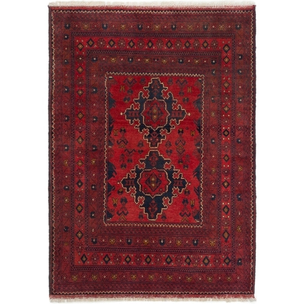 ECARPETGALLERY Hand-knotted Finest Khal Mohammadi Red Wool Rug - 3'4 x 4'9
