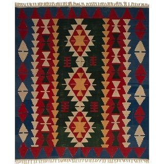 ECARPETGALLERY Flat-weave Ankara FW Dark Green, Red Wool Kilim - 6'1 x 7'4
