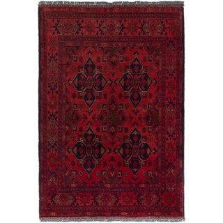 ECARPETGALLERY  Hand-knotted Finest Khal Mohammadi Red Wool Rug - 3'3 x 4'9