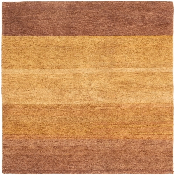 ECARPETGALLERY Hand-knotted Indian Gabbeh Light Brown Wool Rug - 6'3 x 6'3