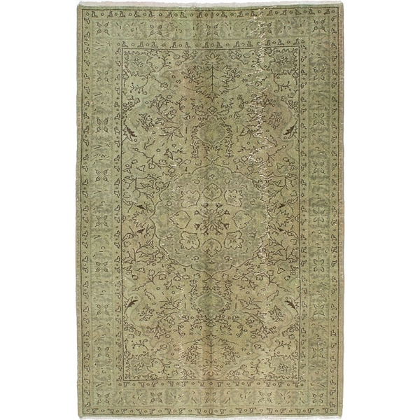 ECARPETGALLERY Hand-knotted Color Transition Light Green Wool Rug - 5'3 x 8'3