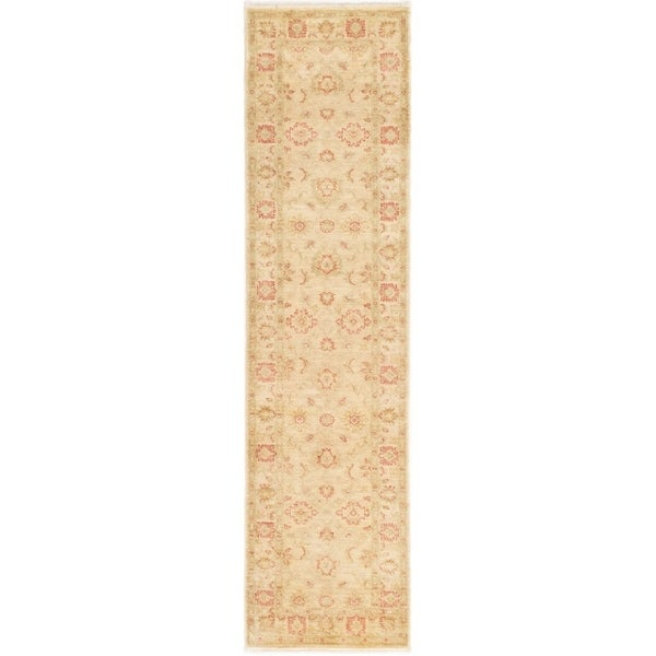 ECARPETGALLERY Hand-knotted Chobi Finest Ivory Wool Rug - 2'6 x 10'0