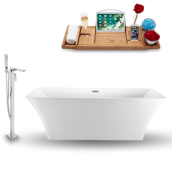 """Tub, Faucet and Tray Set Streamline 71"""" Freestanding NH1000-140"""
