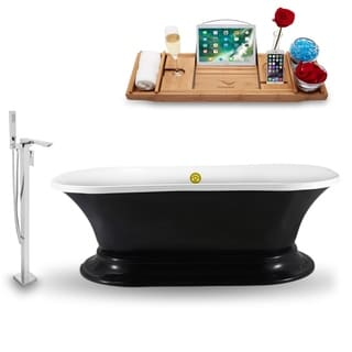 """Tub, Faucet and Tray Set Streamline 68""""  Freestanding NH1141GLD-140"""