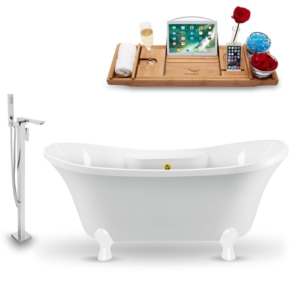 """Tub, Faucet and Tray Set Streamline 60"""" Clawfoot NH900WH-GLD-140"""