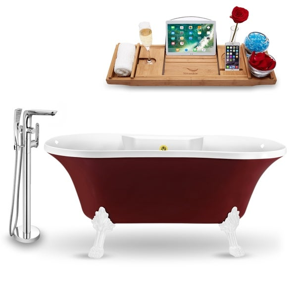 """Tub, Faucet and Tray Set Streamline 60"""" Clawfoot NH102WH-GLD-120"""