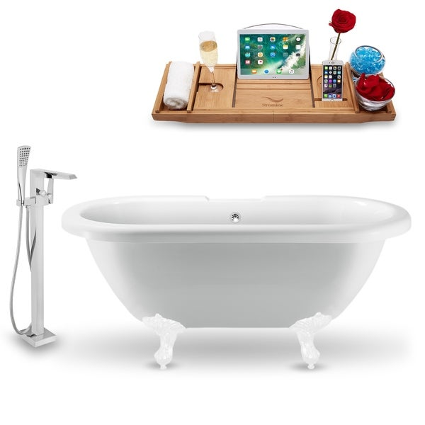 "Tub, Faucet and Tray Set Streamline 70"" Clawfoot NH1121WH-CH-100"