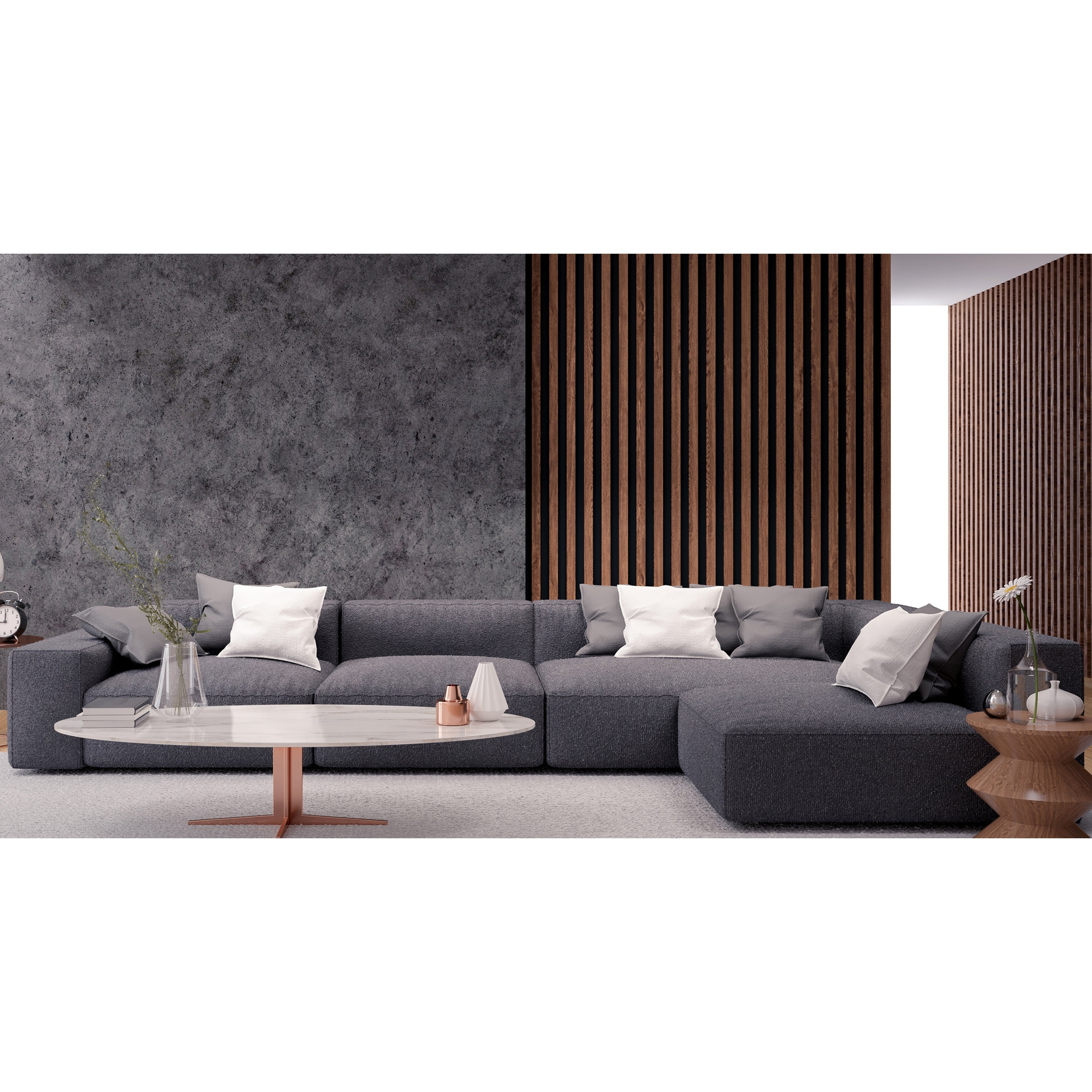 Astonishing Made To Order Roche Studio Elijah Grey Fabric Sectional Sofa Caraccident5 Cool Chair Designs And Ideas Caraccident5Info