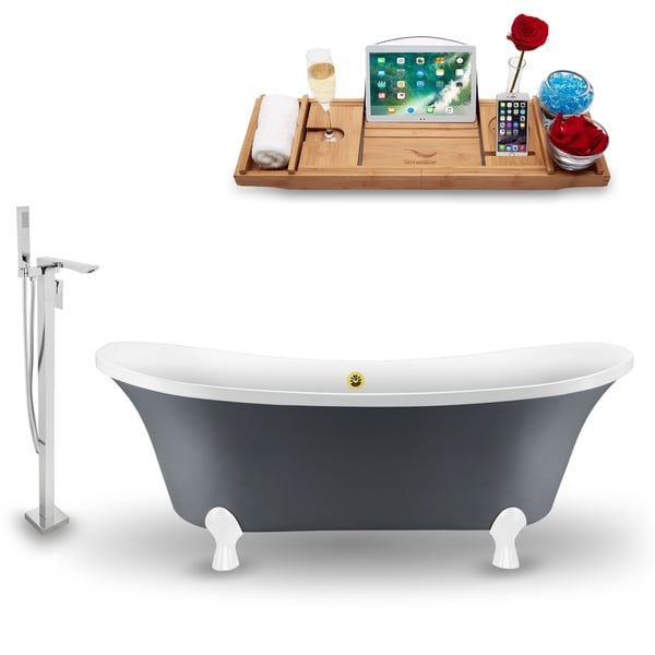 """Tub, Faucet and Tray Set Streamline 68"""" Clawfoot NH921WH-GLD-140"""