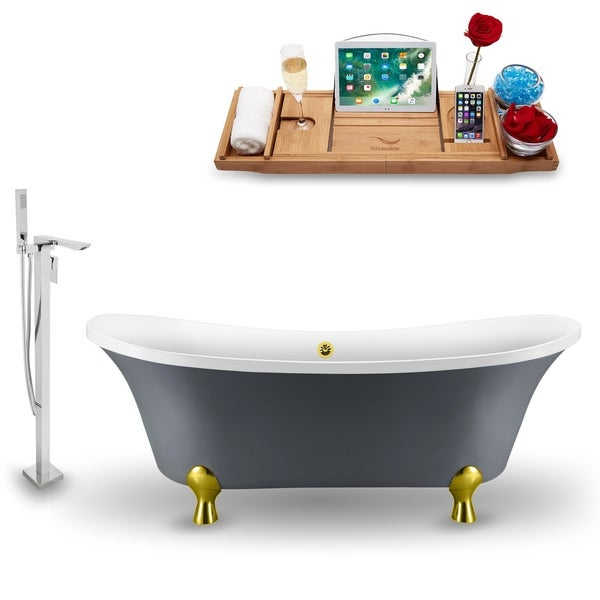 """Tub, Faucet and Tray Set Streamline 68"""" Clawfoot NH921GLD-GLD-140"""