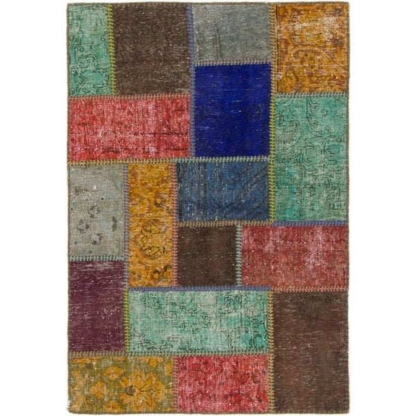 Hand Knotted Ultra Vintage Wool Area Rug - Multi - 2' 10 x 4' 2