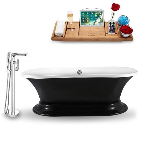 """Tub, Faucet and Tray Set Streamline 68"""" Freestanding NH1141CH-120"""