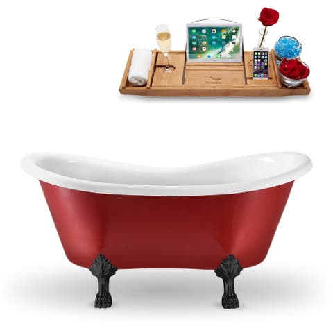 "62"" Streamline N1021BL Clawfoot Tub and Tray With External Drain"