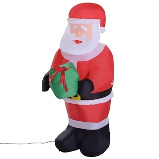 HomCom 4 Ft Outdoor Christmas Inflatable Santa Claus with Gift Box