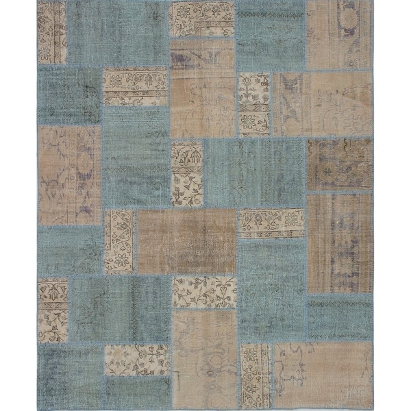 ECARPETGALLERY Hand-knotted Vintage Anatolia Patch Tan Wool Rug - 7'1 x 8'8