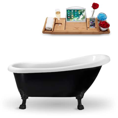 "61"" Streamline N481BL Clawfoot Tub and Tray with External Drain"