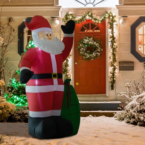8' Outdoor Santa Claus with Gift Bag Christmas Holiday Inflatable Decoration