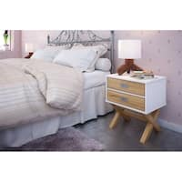 Rustic Mid-Century Modern 2-Drawer Barclay Nightstand in White and Natural Wood