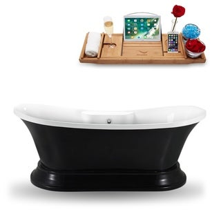 Streamline N961CH Glossy Black Acrylic 68-inch Freestanding Tub and Tray with External Drain