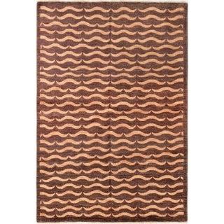 ECARPETGALLERY  Hand-knotted Finest Ziegler Chobi Dark Brown Wool Rug - 5'6 x 8'2