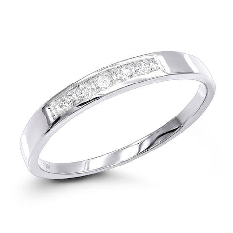14K Gold Mens Diamond Ring Wedding Band 5 Stone 0.15ctw by Luxurman