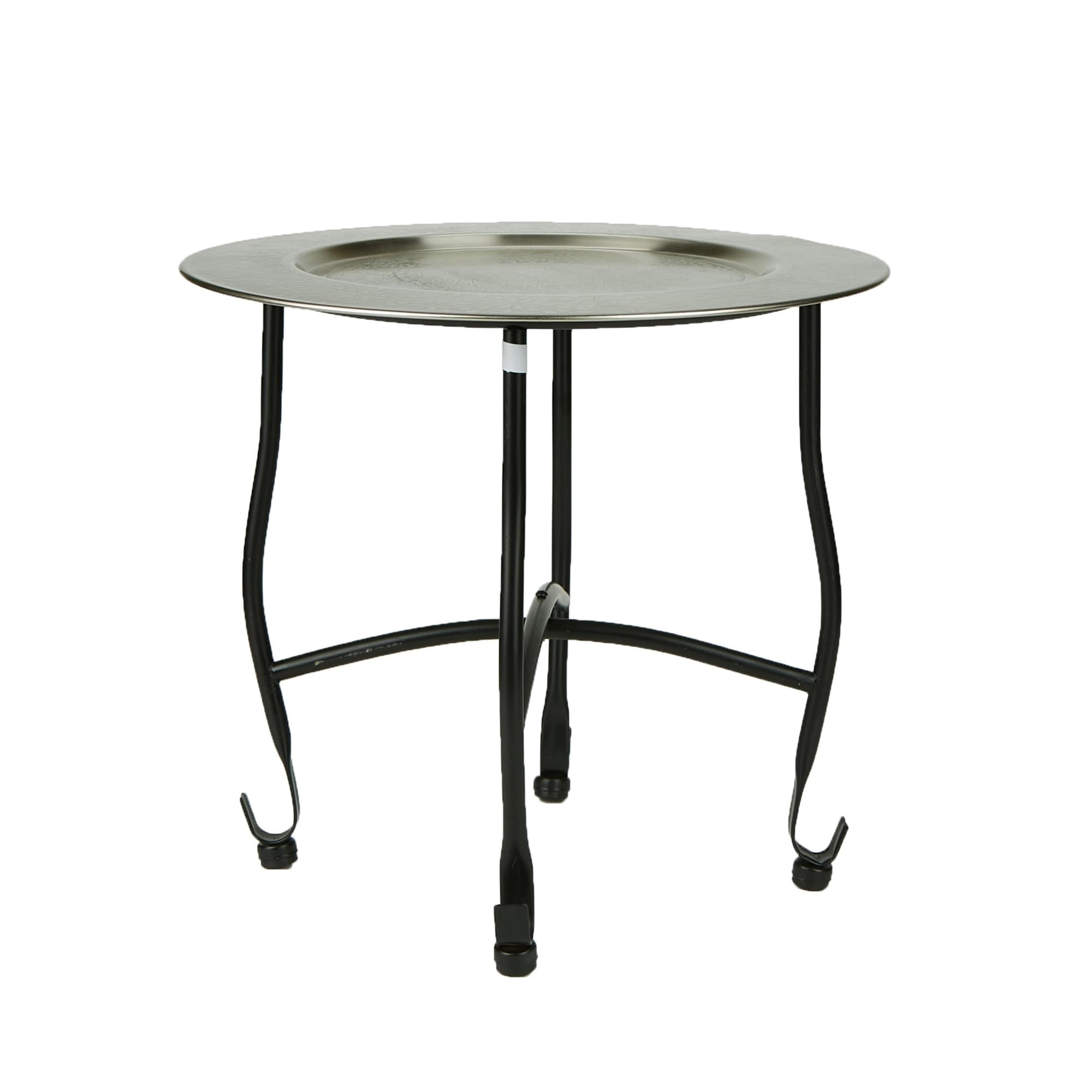 Mind Reader Modern Silver Tray Table