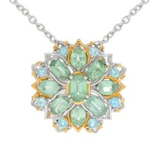 Michael Valitutti Palladium Silver Mint Kyanite & Apatite Flower Pendant