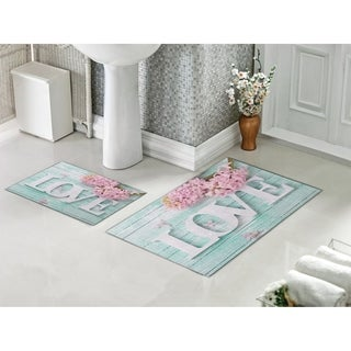 Decorotika 2 Piece Bathroom and Shower Mat - Non-Slip Backing - LOVE - 24 x 36