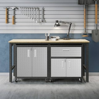 3-Piece Fortress Mobile Space-Saving Steel Garage Cabinet and Worktable 2.0 in Grey