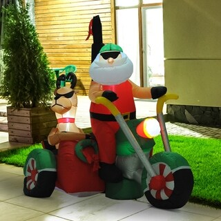 HOMCOM 6 Feet Long Christmas Inflatable Santa Claus Reindeer Riding Motorcycle LED Lighted Yard Decoration